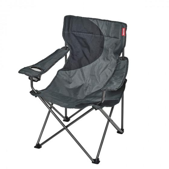 Fauteuil camping ACIER gris noir