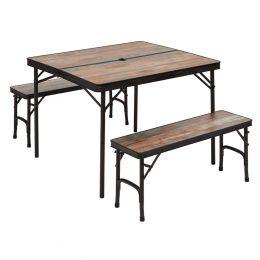 table bois flotte + 2 bancs